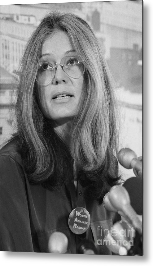 1980-1989 Metal Print featuring the photograph Gloria Steinem At A Press Conference by Bettmann