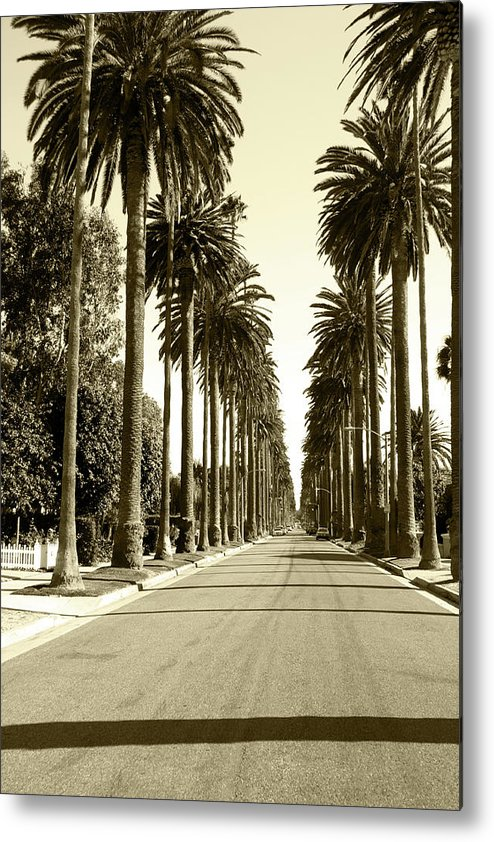 1950-1959 Metal Print featuring the photograph Grayscale Image Of Beverly Hills by Marcomarchi