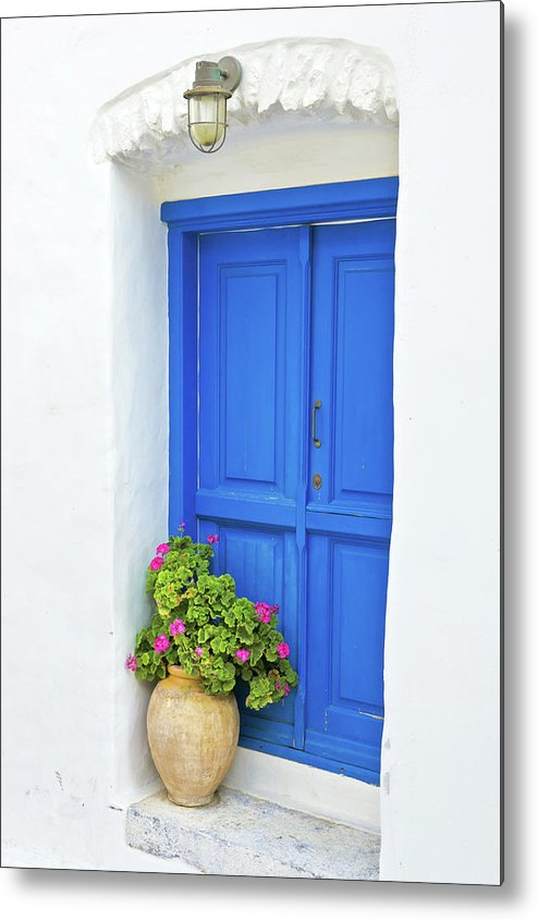 Greek Culture Metal Print featuring the photograph Greek Island Doorway by Abzee