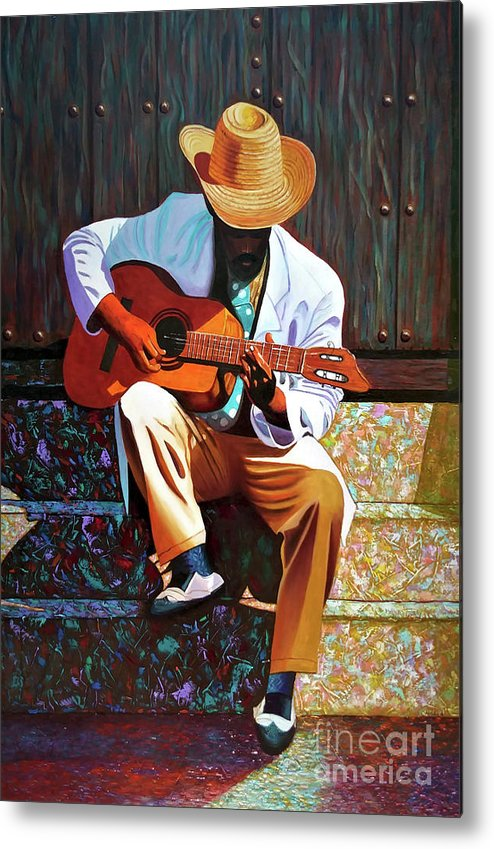 Cuban Metal Print featuring the painting Guitar player #3 by Jose Manuel Abraham