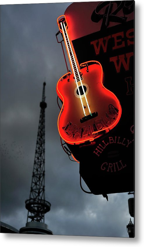 Outdoors Metal Print featuring the photograph Guitar With Nashville by James Atkinson Photography