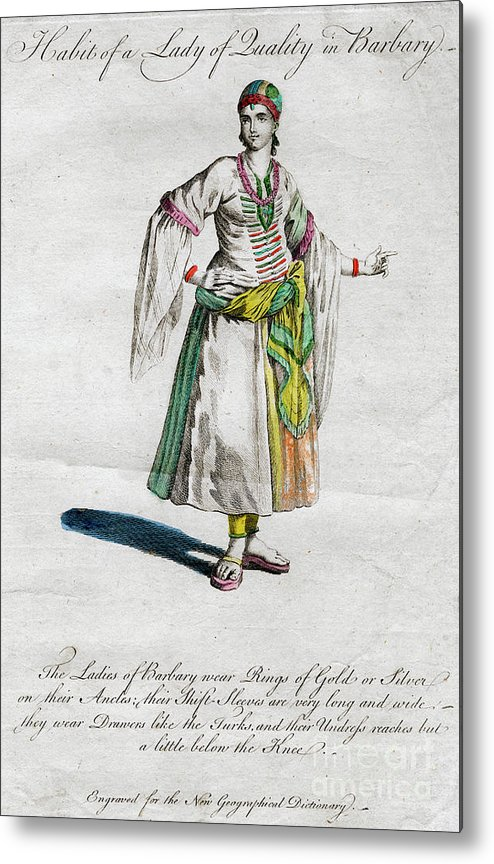 Engraving Metal Print featuring the drawing Habit Of A Lady Of Quality In Barbary by Print Collector
