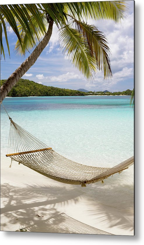 Water's Edge Metal Print featuring the photograph Hammock Hung On Palm Trees On A by Cdwheatley