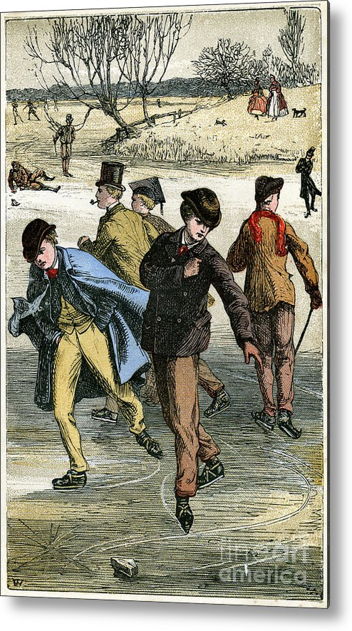 Engraving Metal Print featuring the drawing Ice Skating, 19th Century by Print Collector