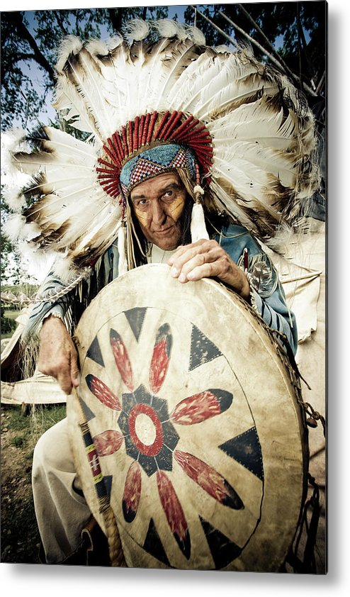 Toughness Metal Print featuring the photograph Indian Chief by Mlenny