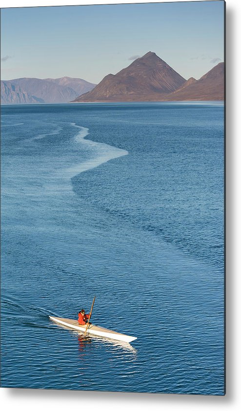 People Metal Print featuring the photograph Inuit Man Paddling Traditionally Shaped by Andrew Peacock