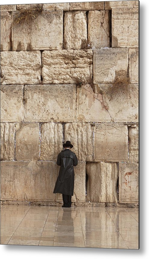 People Metal Print featuring the photograph Jewish Man Praying On The Wailing Wall by Richmatts