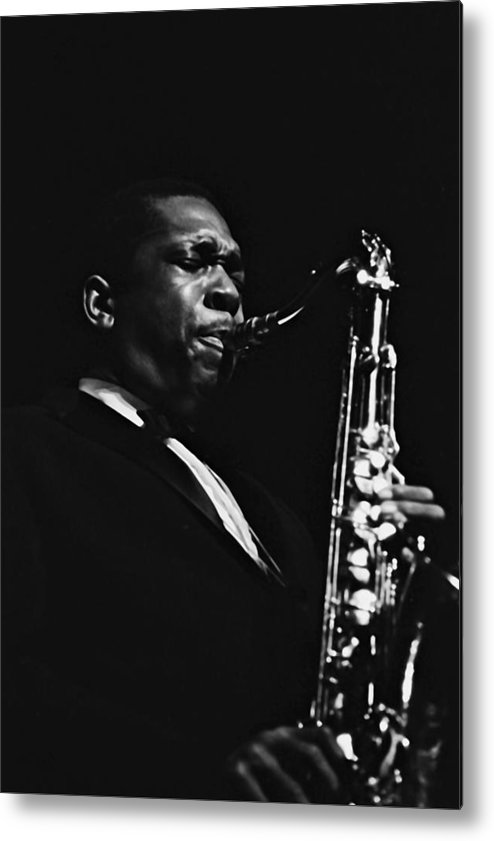 Concert Metal Print featuring the photograph John Coltrane In Paris, France In 1960 - by Herve Gloaguen