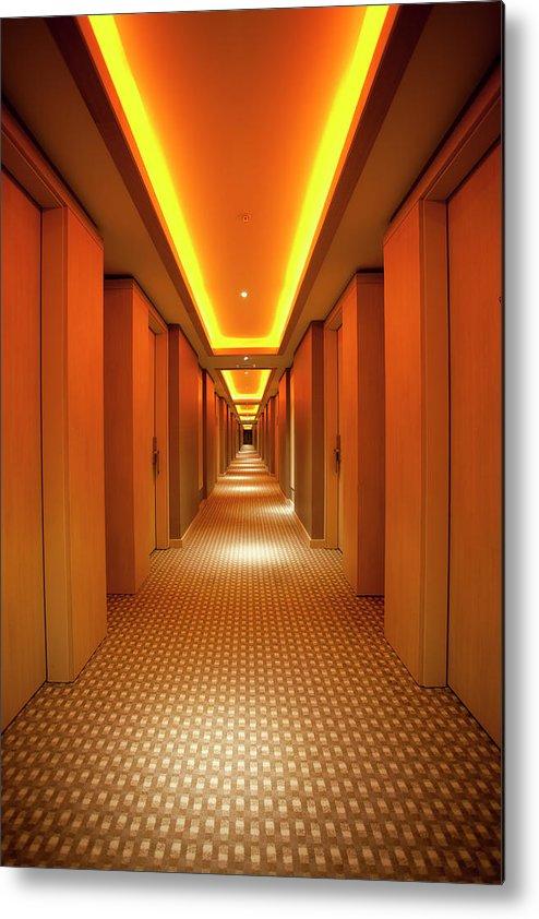 Long Metal Print featuring the photograph Long, Narrow Corridor With Retro Themed by Dogayusufdokdok