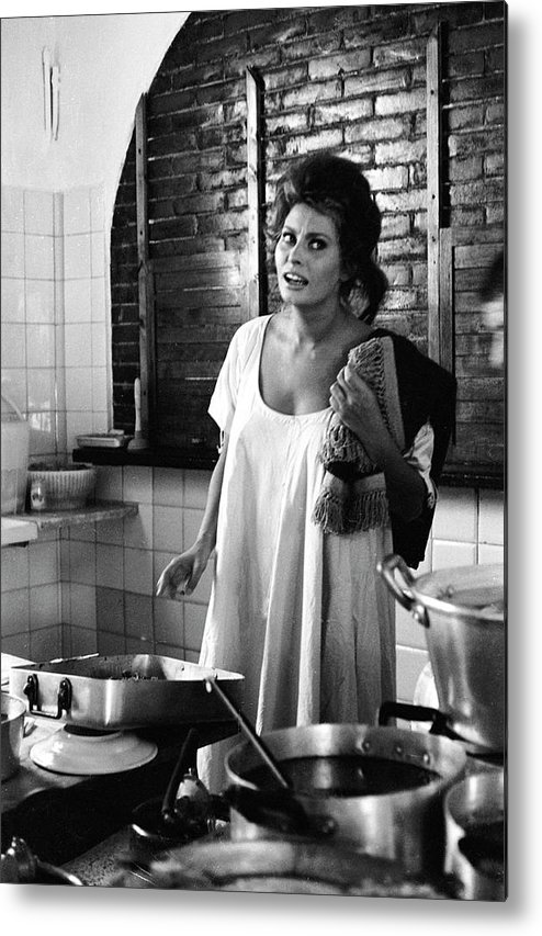 Nightie Metal Print featuring the photograph Loren Cooking by Alfred Eisenstaedt
