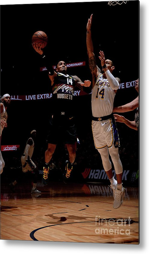 Nba Pro Basketball Metal Print featuring the photograph Los Angeles Lakers V Denver Nuggets by Bart Young