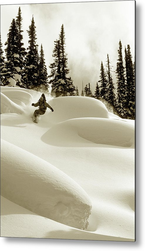 One Man Only Metal Print featuring the photograph Man Snowboarding B&w Sepia Tone by Per Breiehagen