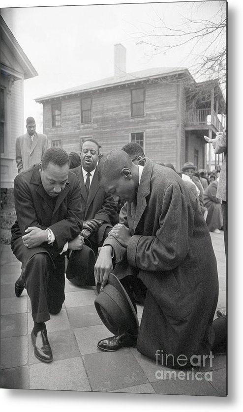 Mature Adult Metal Print featuring the photograph Martin Luther King Jr. Praying by Bettmann