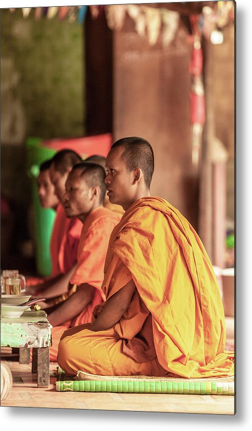 Young Men Metal Print featuring the photograph Monks At Breakfast, Wat Monastery by Cultura Rm Exclusive/gary Latham