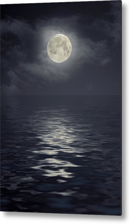 Scenics Metal Print featuring the photograph Moon Under Ocean by Andreyttl