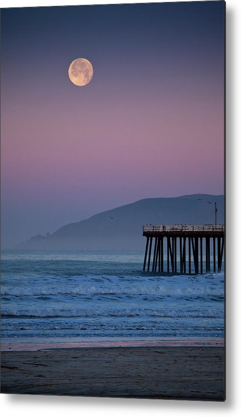Pismo Beach Metal Print featuring the photograph Moonset At Pismo Beach by Mimi Ditchie Photography