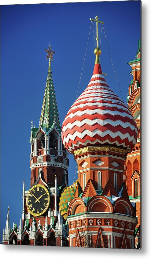 Built Structure Metal Print featuring the photograph Moscow, Spasskaya Tower And St. Basil by Vladimir Zakharov