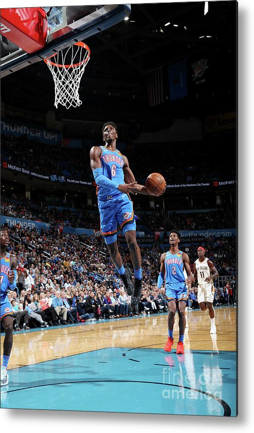 Nba Pro Basketball Metal Print featuring the photograph New Orleans Pelicans V Oklahoma City by Zach Beeker
