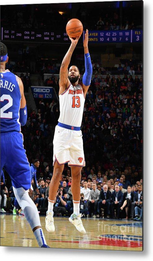 Nba Pro Basketball Metal Print featuring the photograph New York Knicks V Philadelphia 76ers by Jesse D. Garrabrant