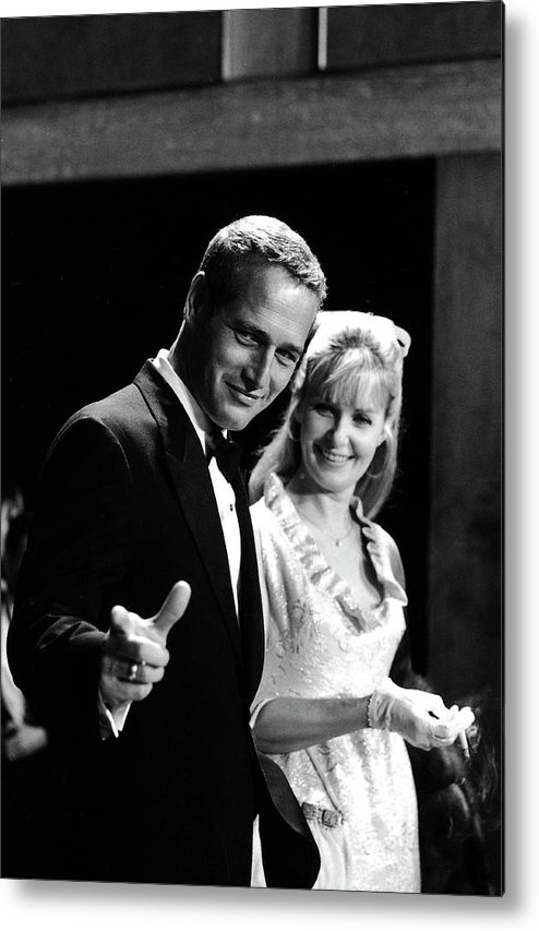 Event Metal Print featuring the photograph Newman & Woodward Attend Formal Event by Mark Kauffman
