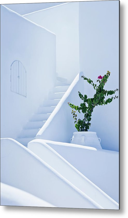 Steps Metal Print featuring the photograph Nice White Stairs In Oia Village by Mbbirdy