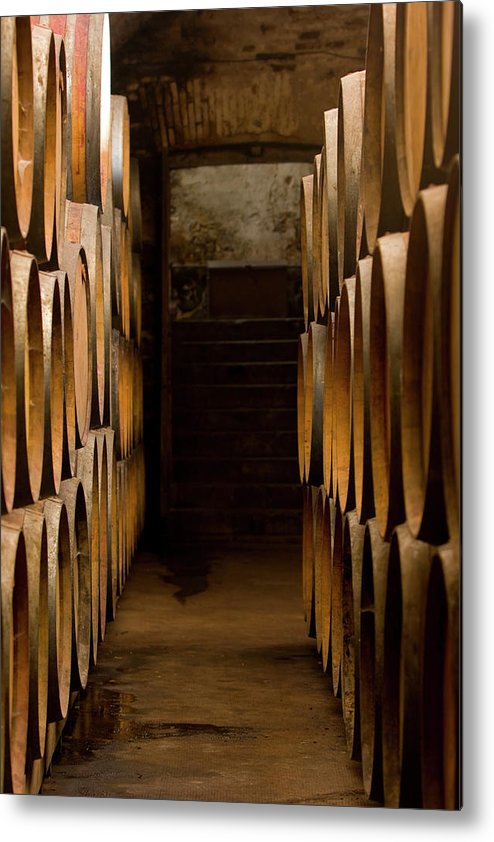 Alcohol Metal Print featuring the photograph Oak Barrels At The Wine Cellar by Kycstudio