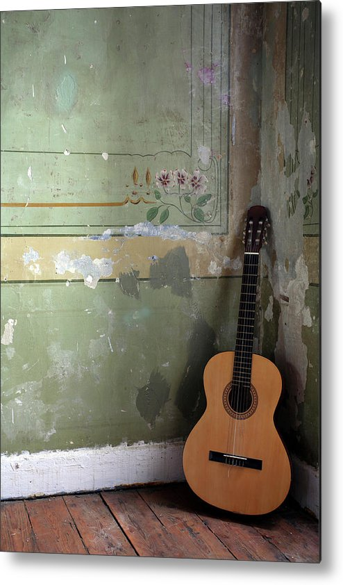 Music Metal Print featuring the photograph Old Guitar by Kursad