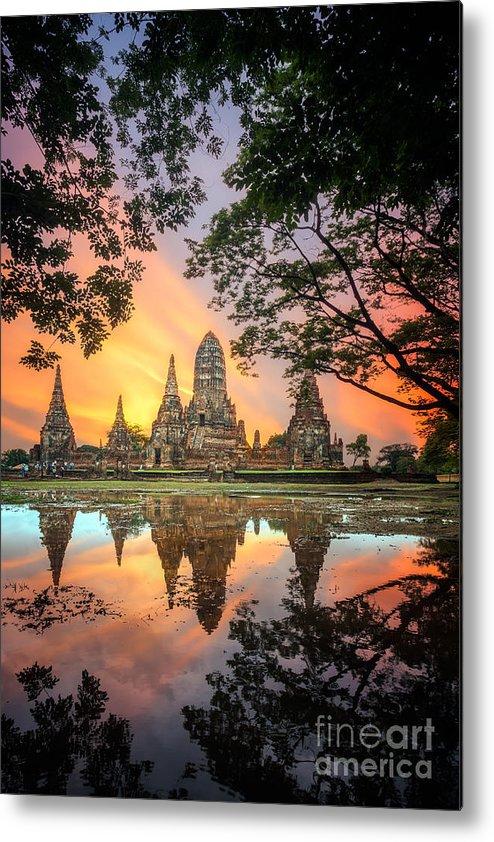 Sukhothai Metal Print featuring the photograph Old Temple Wat Chaiwatthanaram by Santiphotoss