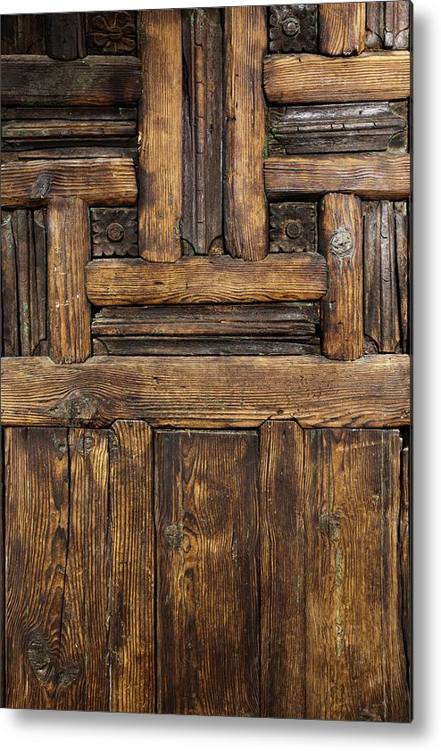 Arch Metal Print featuring the photograph Old Wooden Door by Logosstock