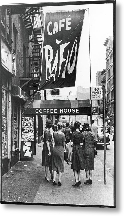Pedestrian Metal Print featuring the photograph Outside The Cafe Rafio by Fred W. McDarrah
