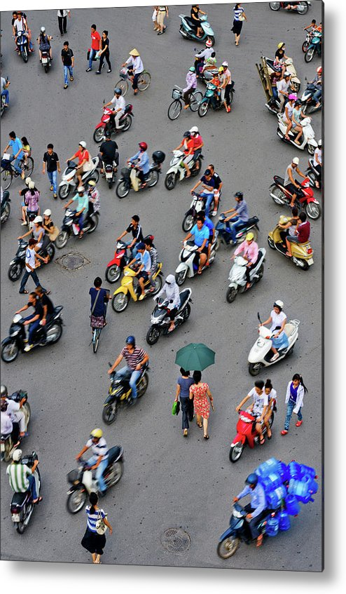 People Metal Print featuring the photograph Overhead View Of Motorbike Traffic by Rwp Uk