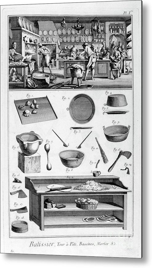 Working Metal Print featuring the drawing Patisserie, 1751-1777 by Print Collector