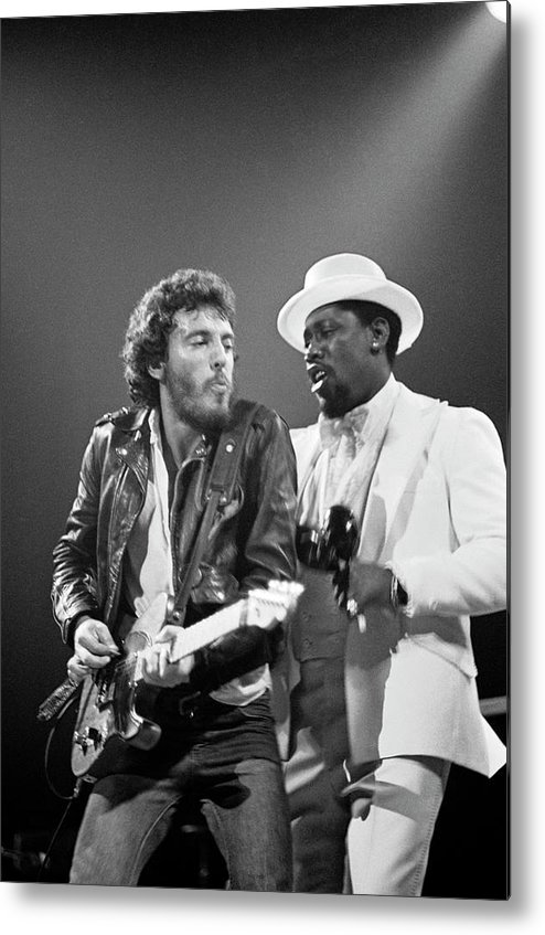 Music Metal Print featuring the photograph Photo Of Bruce Springsteen And Clarence by Fin Costello