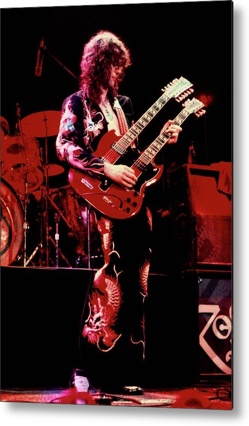 Jimmy Page Metal Print featuring the photograph Photo Of Jimmy Page And Led Zeppelin by Graham Wiltshire
