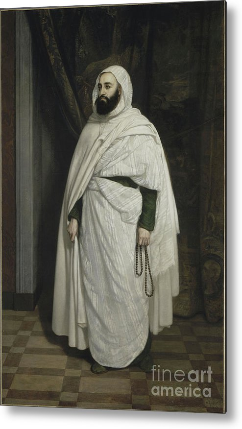 Oil Painting Metal Print featuring the drawing Portrait Of Abdelkader Ibn Muhieddine by Heritage Images
