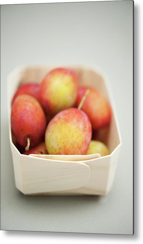 Plum Metal Print featuring the photograph Punnet Of Victoria Plums by Diana Miller