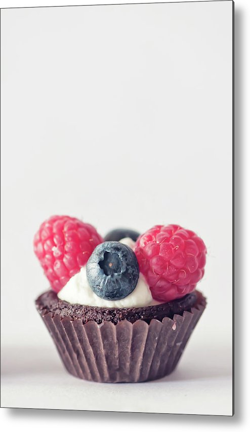 Unhealthy Eating Metal Print featuring the photograph Raspberries And Blueberries Cupcake by Marta Nardini