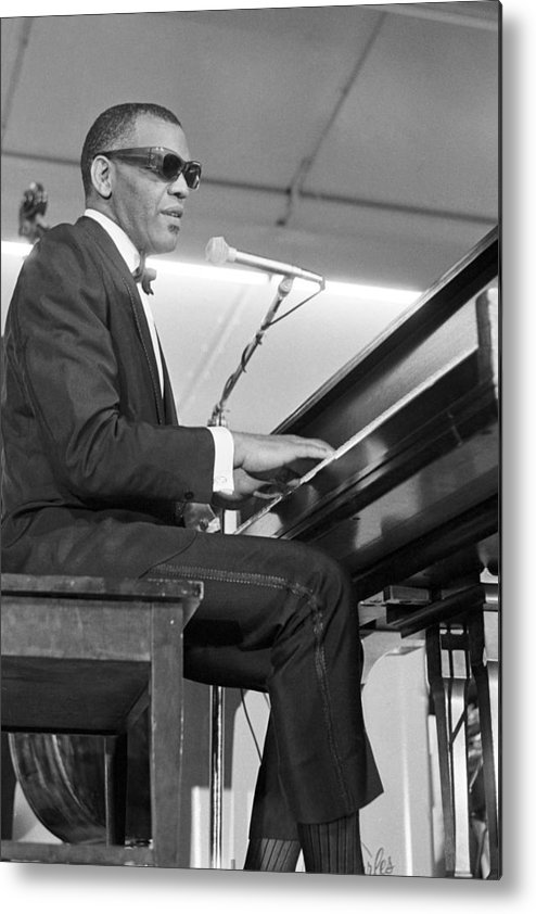 Music Metal Print featuring the photograph Ray Charles At Sound Blast 66 by Michael Ochs Archives