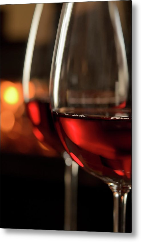 Orange Color Metal Print featuring the photograph Red Wine By The Fire by Nightanddayimages