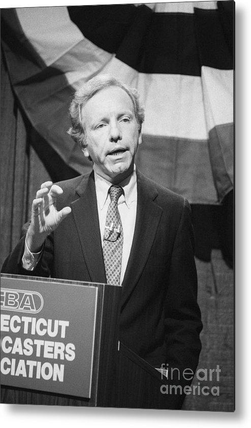 1980-1989 Metal Print featuring the photograph Senator Joseph Lieberman At Debating by Bettmann
