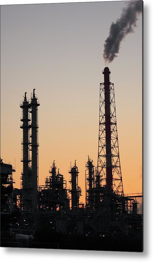 Built Structure Metal Print featuring the photograph Silhouette Of Petrochemical Plant by Hiro/amanaimagesrf