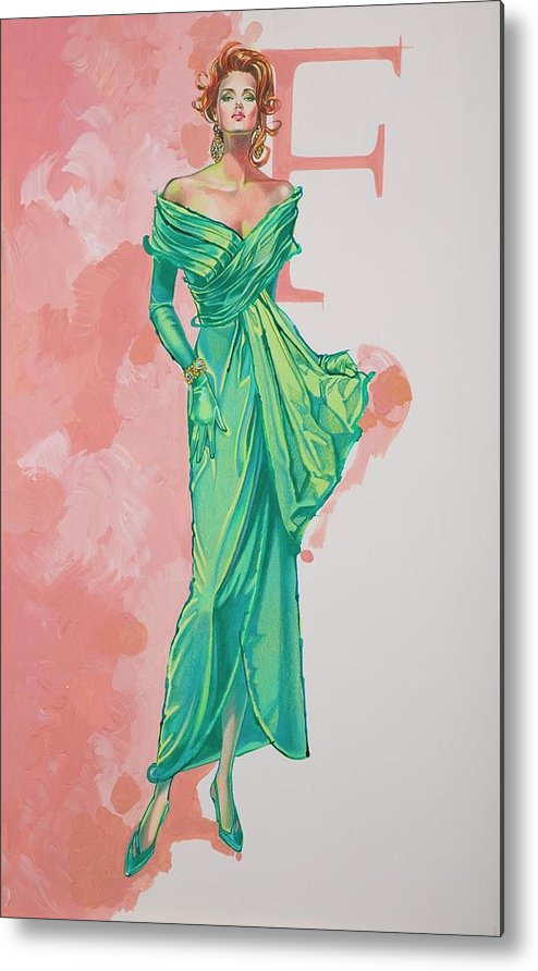 Fashion Illustration Metal Print featuring the painting Spring Fling by Barbara Tyler Ahlfield