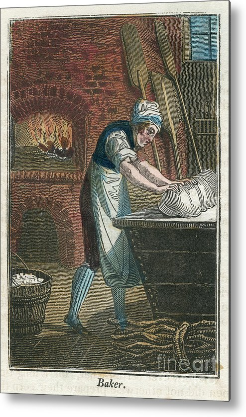 Working Metal Print featuring the drawing The Baker Kneading Dough On The Lid by Print Collector