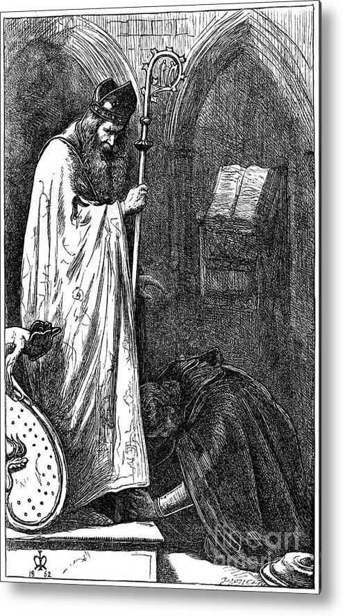 Pre-raphaelite Metal Print featuring the drawing The Bishop And The Knight, 1862. Artist by Print Collector