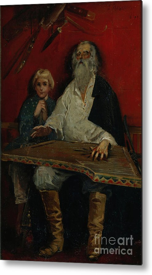 Oil Painting Metal Print featuring the drawing The Gusli Player. Artist Ryabushkin by Heritage Images