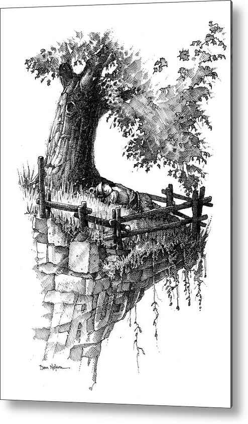 Trust. Sleeping In Peace. Tree And Cliff. Fence. On The Edge. Resting In Peace. Trust Illustration. Sleeping In Peace Illustration. Tree And Cliff Illustration. Fence Illustration. On The Edge Illustration. Resting In Peace Illustration. Metal Print featuring the drawing Trust by Dan Nelson