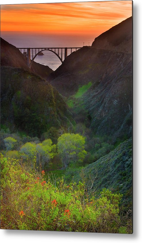 Tranquility Metal Print featuring the photograph Usa, California, Big Sur, Bixby Bridge by Don Smith
