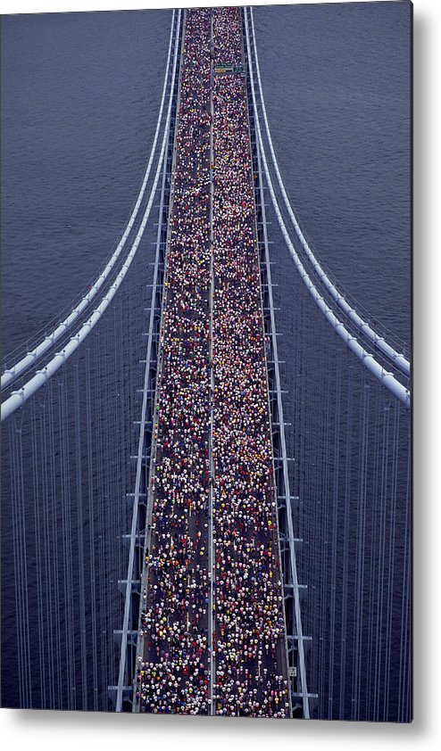 Crowd Metal Print featuring the photograph Usa, New York City, Marathon Race by Joanna Mccarthy