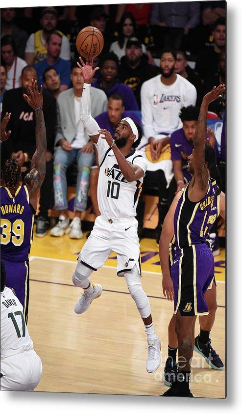 Nba Pro Basketball Metal Print featuring the photograph Utah Jazz V Los Angeles Lakers by Adam Pantozzi