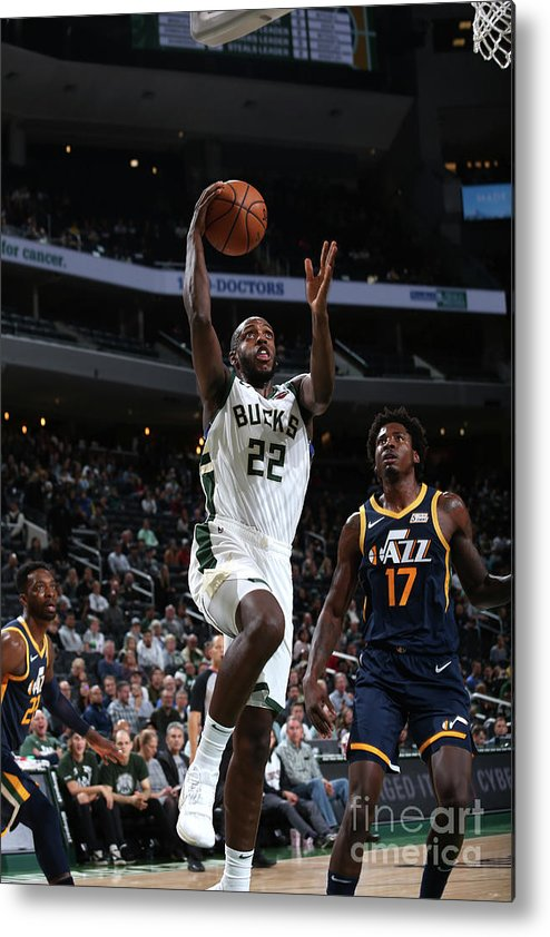 Nba Pro Basketball Metal Print featuring the photograph Utah Jazz V Milwaukee Bucks by Gary Dineen